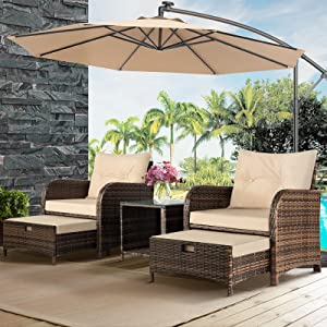 Aoxun 5 Piece Patio Furniture Set, Wicker Outdoor Chair Set with Ottoman and Coffee Table, Patio Conversation Sets for Garden/Poolside/Porch/Balcony (Brown)