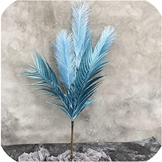 NA 62Cm 5 Heads Reed Large Artificial Tree Fake Palm Leaves Branch Plastic Onion Grass Autumn Flowers for Wedding Party Home Decor,Blue