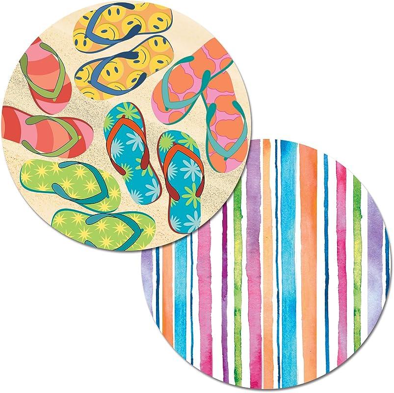 Counterart Set Of 4 Round Reversible Decofoam Placemats Beachy Flip Flops