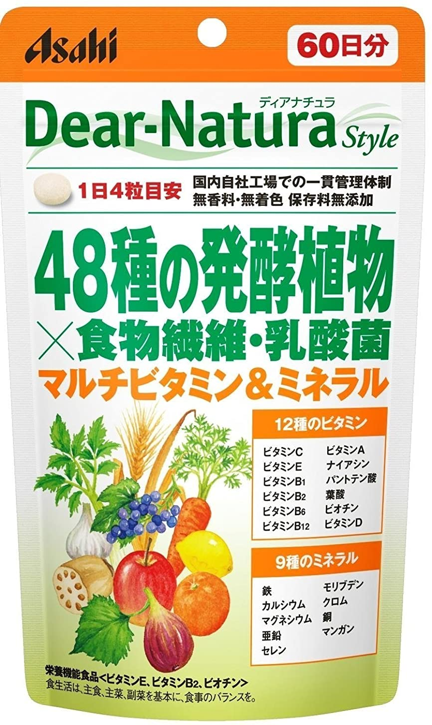石予報里親アサヒグループ食品 ディアナチュラスタイル 48種の発酵植物×食物繊維?乳酸菌 240粒(60日分)