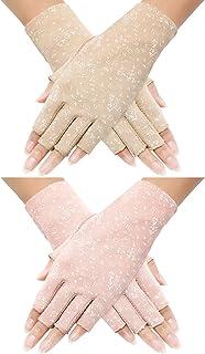 Maxdot 2 Pairs Women Sunblock Fingerless Gloves Non Skid Summer Gloves UV Protection Driving Gloves