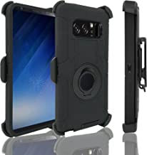 Galaxy Note 8 Case Note 8 Holster Defender Case- Shock Absorption High Impact Resistant Armor Full Body Protective Case Cover with Kickstand and Belt Swivel Clip (Black)