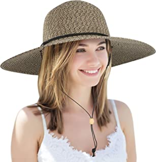 a564a041e7de5 Simplicity Women s UPF 50+ Wide Brim Braided Straw Sun Hat with Lanyard