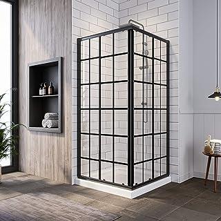 SUNNY SHOWER Sliding Shower Door with Shower Base Corner Shower Enclosure 36 X 36 X 72 inch, Semi-Frameless Shower Door wi...