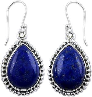 NOVICA Lapis Lazuli Teardrop .925 Sterling Silver Dangle Earrings `Inspiration`