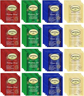 Twinings Holiday Variety Tea Bag Pack, Peppermint Cheer, Holiday Berry, Christmas Tea, Winter Spice and other variety 50 C...