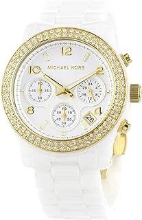 Women's MK5237 White Ceramic Runway Gold Glitz Watch