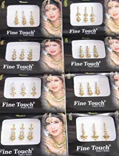 6 Bindis 2 Packs Of Gold Long Face Jewels Bollywood Bindis/Indian India Bindis/Bindi Sticker/Bindi Jewels/Face Jewels/Fancy Bindis Online/Golden bindi