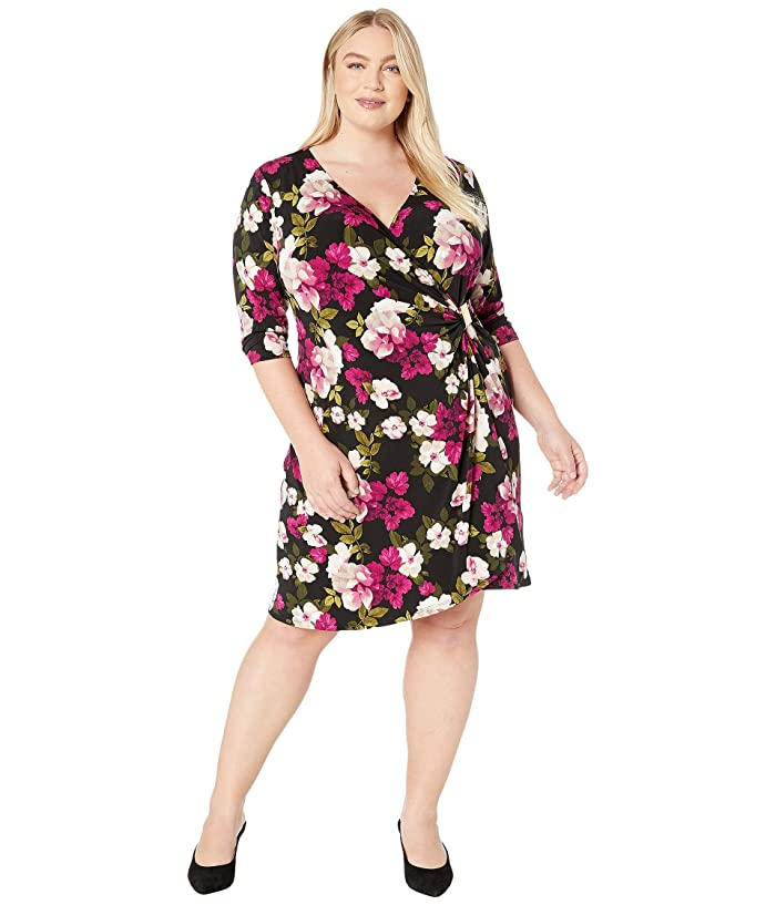 Plus Size Wrap Dress with Hardware (Black/Blush) Women's Dress
