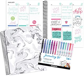 "bloom daily planners Undated Dot Journaling Planner & Zebra Pen Bundle Set - Monthly/Weekly Grid Style Calendar Organizer (7"" x 9"") + 14-ct Sarasa Clip Fine Point Gel Pens & Midliner Creative Markers"