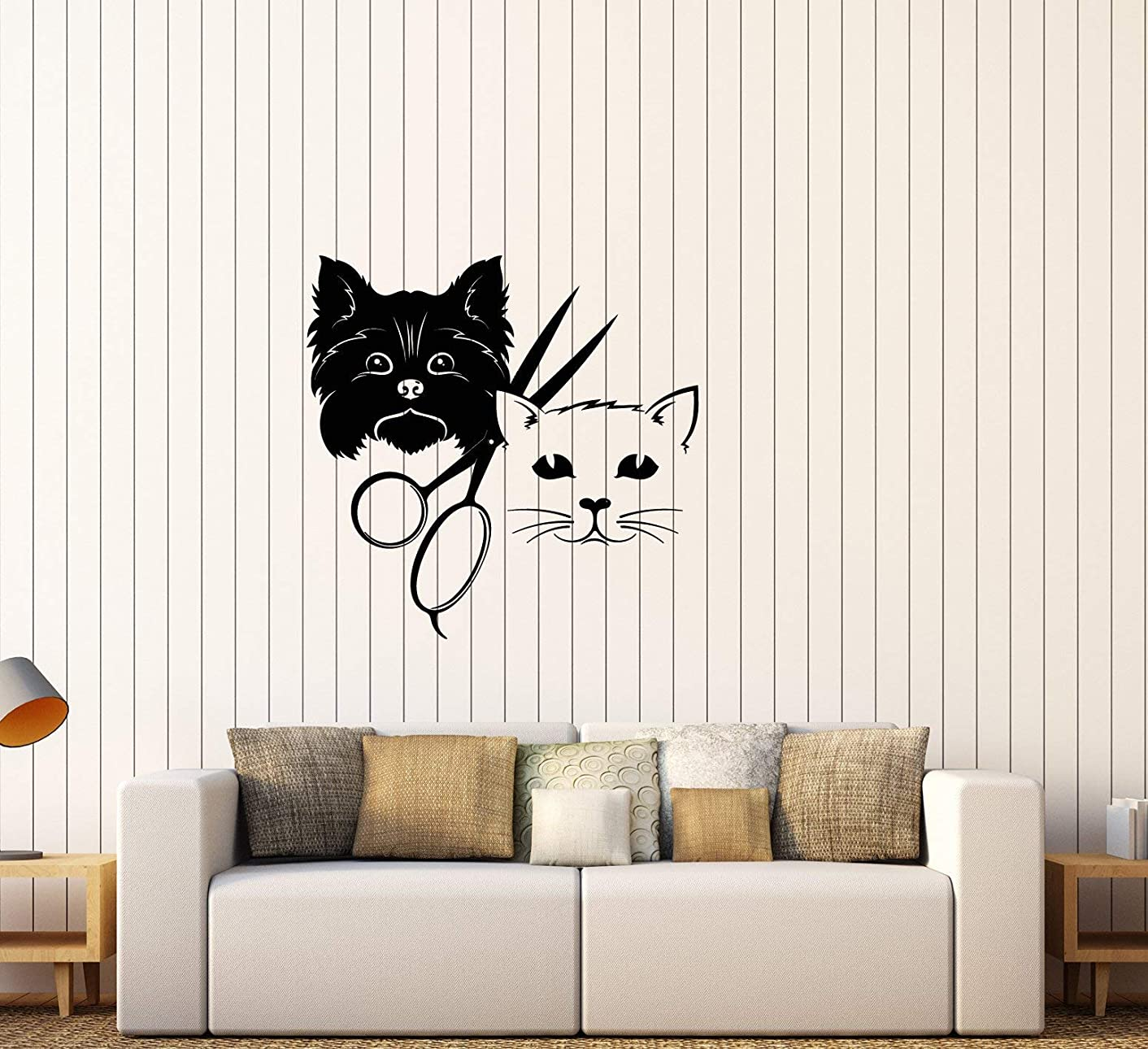 Vinyl Wall Decal Grooming Beauty Salon Dog and Cat Scissors Logo Stickers (3743ig)