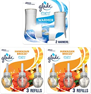 Glade PlugIns Scented Oil Warmer and Hawaiian Breeze StarterKit (2 Warmers + 6 Refills), Essential Oil Infused Wall Plug in, 4.02 FL Ounce, Pack of 6