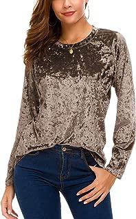 Women's Vintage Velvet T-Shirt Casual Long Sleeve Top
