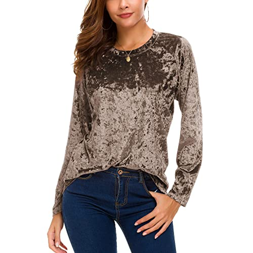 db043432c6264 Women s Vintage Velvet T-Shirt Casual Long Sleeve Top