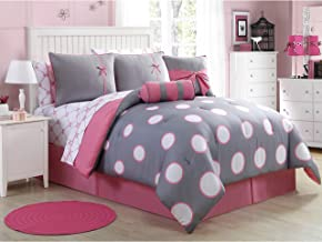 VCNY Home Sophie Bed in A Bag Comforter Set Twin Grey/Pink 8 Piece