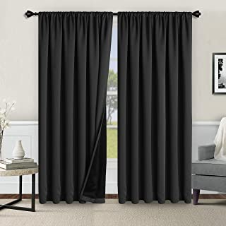 WONTEX 100% Thermal Blackout Curtains for Bedroom - Winter Insulating Rod Pocket Window Curtain Panels, Noise Reducing and...