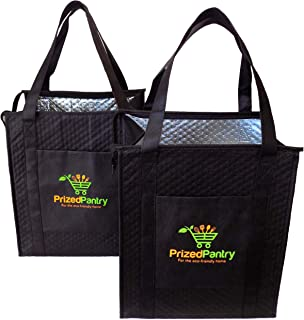 Prized Pantry 2 Pack Insulated Reusable Grocery Bags, X-Large Heavy Duty Cooler Tote Bags, Premium Insulation, Bottom Supp...