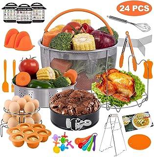 PentaQ Instant Pot Accessories Compatible with 6 Quart, 24 Pieces Pressure Cooker Accessory Set Orange 8 Quart, 2 Steamer Basket, Springform Pan, Egg Bites Mold