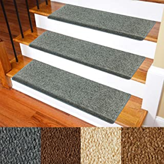 Carpet Stair Treads – Non-Slip Bullnose Carpet for Stairs – Indoor Stair Pads – Self-Adhesive & Easy Installation – Pet & Child Friendly – Skid Resistant & Washable – 14- Pack Grey 10