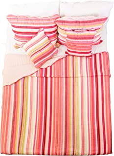 DaDa Bedding Striped Bedspread Set - Reversible Stunning Red Multi-Colored Bright Vibrant - Twin - 3-Pieces