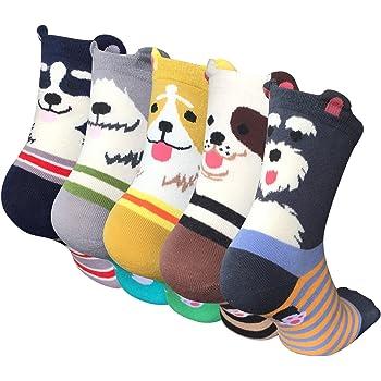 5 Paires Femmes Chaussettes Mignonnes Chaussette Hiver en Coton Motif à Animaux Chat Chien Kawaii Multicolore
