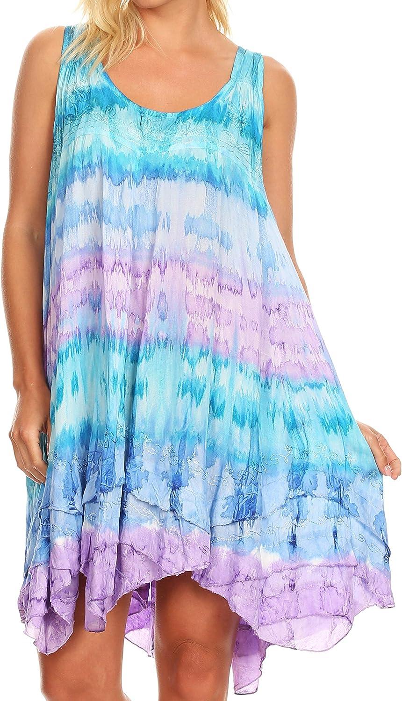 Sakkas Artemi Women's Casual Short Tie-dye Sleeveless Loose Tank Dress Cover-up