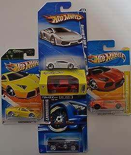 RMZ City Audi R8 V10 Red & Hot Wheels Lamborghini Gallardo LP 560-4; '11 Nightburnerz; '12 Aventador & Lotus Sport Elise Cars Bundle 1:64 Scale Collectible Die Cast Model Cars