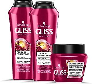 Schwarzkopf Gliss, Linea Colour Perfector, Confezione con 2 Shampoo e Maschera 2in1, Riparazione Intensa per Capelli Danne...