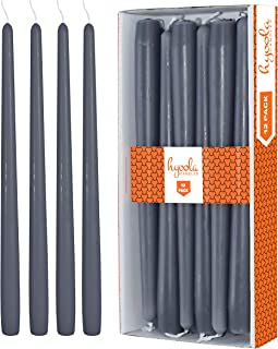 Hyoola 12 Pack Tall Taper Candles - 10 Inch Dark Grey Dripless, Unscented Dinner Candle - Paraffin Wax with Cotton Wicks - 8 Hour Burn Time