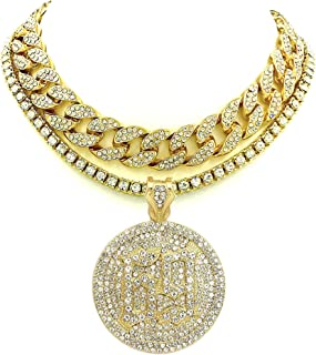Pyramid Jeweler Mens Iced Out Gold Miami Cuban Choker & 69 Hip Hop Rappers Pendant Necklace Set