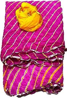 Lakshya Fabrics Women's Ethnic Chiffon Lahariya Saree with Blouse (Size: 6.3 MTR) Pink