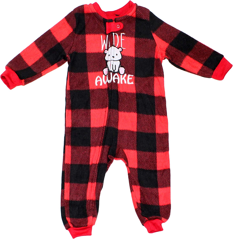 Secret Santa Baby Wide Awake Matching Family Pajama Set Onesie, 12M-18M Red