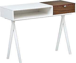 Marca Amazon -Rivet - Escritorio de madera lacado en blanco con patas cruzadas 1066 cm de largo (blanco brillante y nogal)