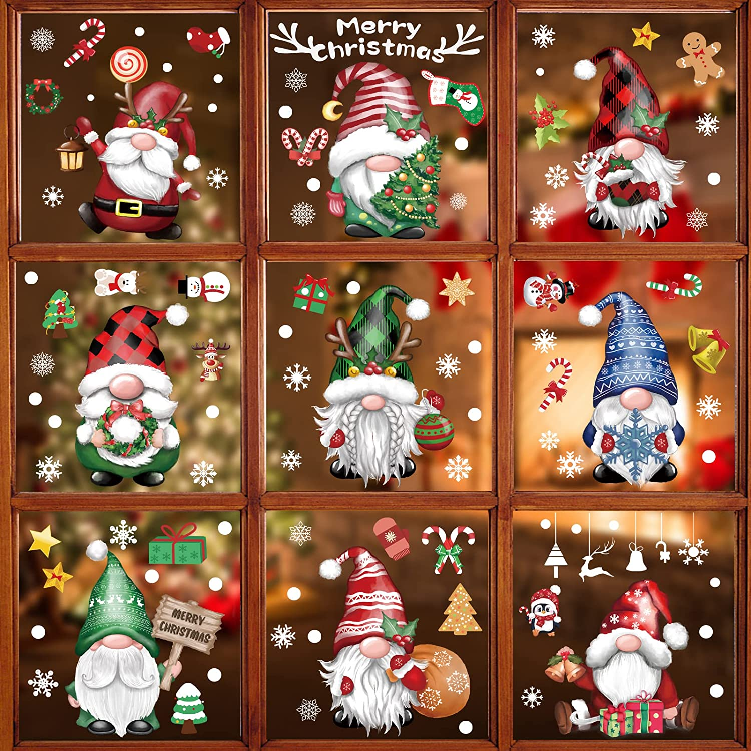 BORAMDO Christmas Window Clings 11 Sheets, Christmas Gnome Snowflake Window Decals Stickers, Removable Christmas Window Decorations for Glass Windows Xmas Holiday Home Office Decor 9 Styles