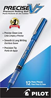 PILOT Precise V7 Stick Liquid Ink Rolling Ball Stick Pens, Fine Point (0.7mm) Blue Ink, 12-Pack (35349)