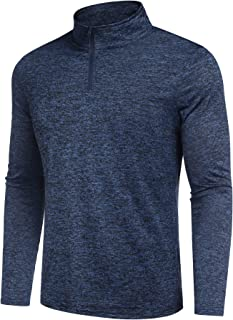 Men 1/4 Zip Athletic Pullover Long Sleeve Dry Fit Running Active Shirts