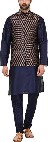 Royal Tag 7 Hommes's Blended Kurta Pyjama With veste 42 bleu & or