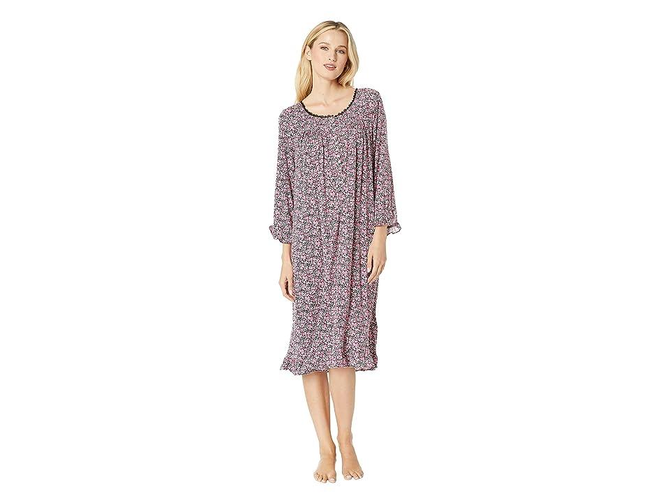 Eileen West Knit Modal Waltz Nightgown (Black Multi Ditsy Floral) Women