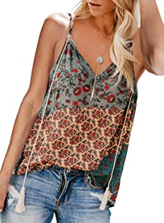 cd3e272a18b09b Elapsy Womens Floral V Neck Button Up Cami Tank Top Knot Front Sleeveless  Blouse T Shirts