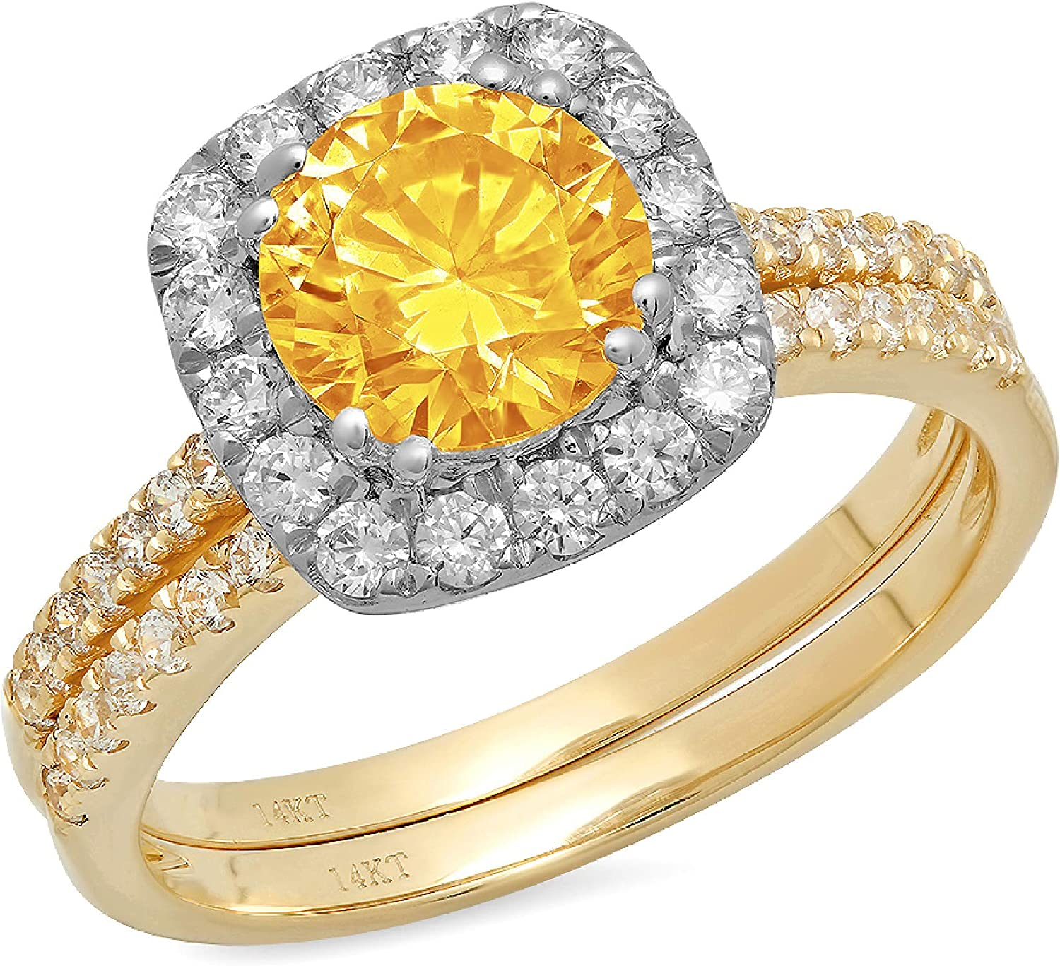 2.19ct Round Cut Halo Pave Solitaire Halo with Accent VVS1 Ideal Natural Yellow Citrine Engagement Promise Designer Anniversary Wedding Bridal Ring band set 14k Yellow White Gold