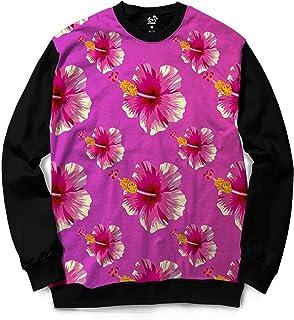 Moletom Gola Careca Long Beach Flores Sublimada Rosa