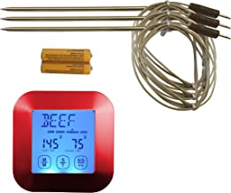 Great Digital Meat Food Thermometer - Instant Read with 3 Stainless Steel Temperature Probes for Cooking Food in Oven, BBQ, Smoker or Grilling Meat, Roasting Turkey & Candy, Red Kitchen Timer