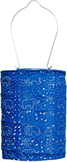 Allsop Home and Garden Soji Stella Dream LED Outdoor Solar Lantern, Handmade with Weather-Resistant UV Rated Tyvek Fabric, Stainless Steel Hardware, Auto sensor on/off, for Patio, Deck, Garden, Color (Midnight Blue)