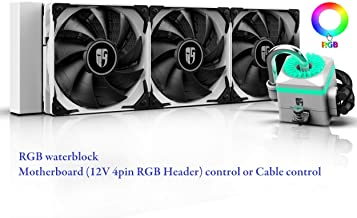 DEEP COOL Captain 360X WH RGB AIO CPU Liquid Cooler, Anti-Leak Tech Inside, Stainless Steel U-Shape Pipe, Cable Controller and Motherboard with 12V 4-pin RGB Header Control, 3-Year Warranty