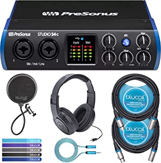 PreSonus Studio 24c USB-C Audio Interface Bundle with Studio One Artist Software, Samson SR350 Headphones, Blucoil 2x 10' XLR Cables, Pop Filter Windscreen, 6' 3.5mm Extension Cable, and 5x Cable Ties