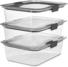 Rubbermaid Brilliance Food Storage Container, Large, 9.6 Cup, Clear, 3 Pack
