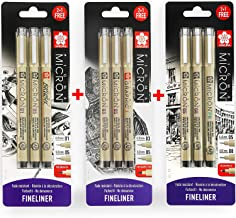 Sakura Pigma Micron - Pigmento Fineliner Pens - 0.1/ 0.5mm/ Brush+ 0.5/ 0.8mm/ Pn + 0.3/ 0.5mm/ Gráfico - Tinta Negra - Blister Pack Of 9