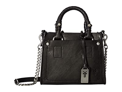 Frye Demi Mini Satchel (Black Antique Soft Vintage) Satchel Handbags