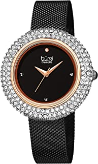 Burgi Women's BUR220 Swarovski Crystal & Diamond Accented Stainless Steel Mesh Bracelet Watch