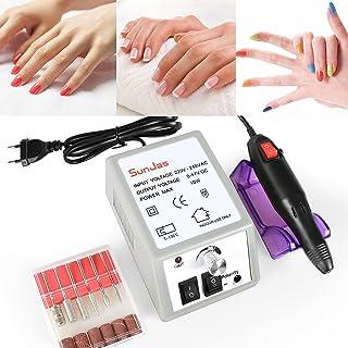 SunJas Torno para Uñas Profesional Lima de Uñas Pedicura Manicura Eléctrica Pulidor de Uñas con Set de 6 Tipos de Brocas d...